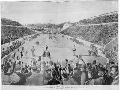Revival of the Olympic Games in Athens: Loues Winning the Race from Marathon, 10th April 1896