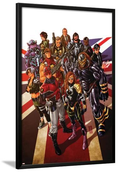 Revolutionary War: Alpha #1 Cover: Captain Britain, Angel, Killpower, Wisdom, Pete, Colonel Liger-Mark Brooks-Lamina Framed Poster
