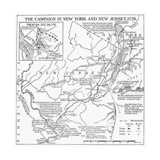 Revolutionary War Map, 1776 Giclee Print by | Art.com
