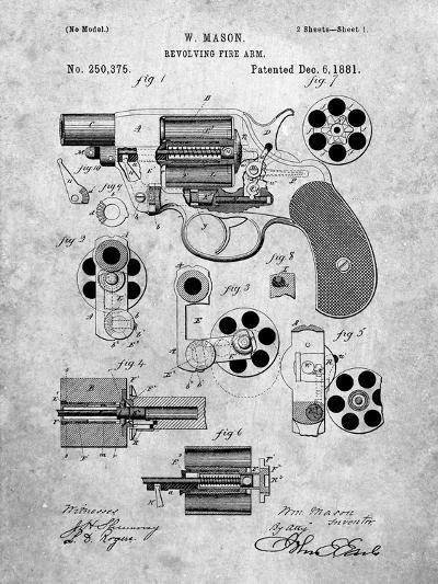 Revolver Firearm Patent-Cole Borders-Art Print