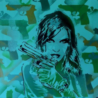 Revolver Greens-Abstract Graffiti-Giclee Print