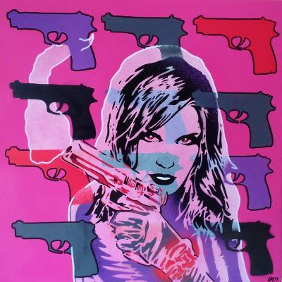 Revolver Pinks-Abstract Graffiti-Giclee Print