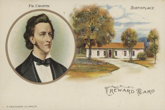 Reward Card with a Portrait of Polish Composer Frederic Chopin--Giclee Print
