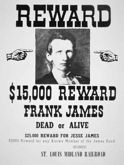 Reward Poster For Frank James--Giclee Print