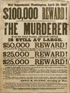 Reward Poster of Lincoln Assassins