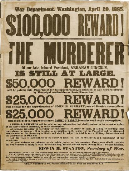 Reward Poster of Lincoln Assassins--Art Print