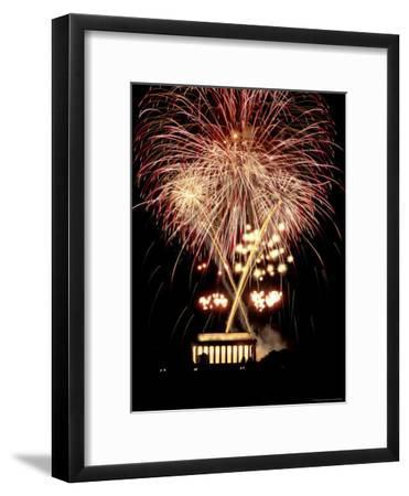 Firework Display Above the Lincoln Memorial
