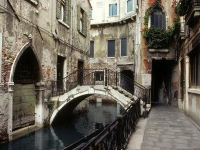 View of a Canal in a Quiet Residential Section of Venice