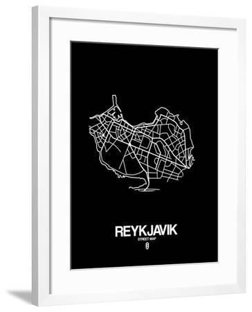 Reykjavik Street Map Black-NaxArt-Framed Art Print