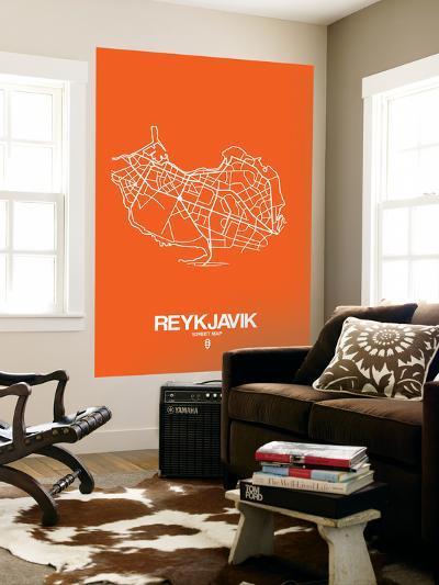 Reykjavik Street Map Orange-NaxArt-Wall Mural