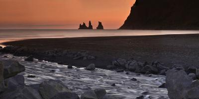 Reynisdrangar Basalt Sea Stacks, Near Vik, at Sunset-Raul Touzon-Photographic Print