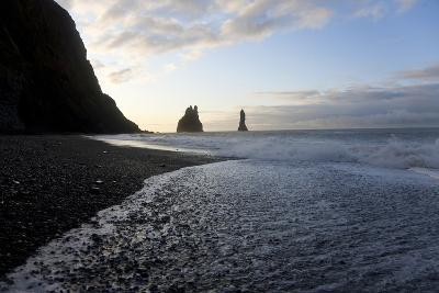 Reynisdrangar Rock Formations and Black Beach, Vik, Iceland-Peter Adams-Photographic Print