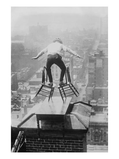 Reynolds Performs a Balancing Act on Roof in New York City--Art Print