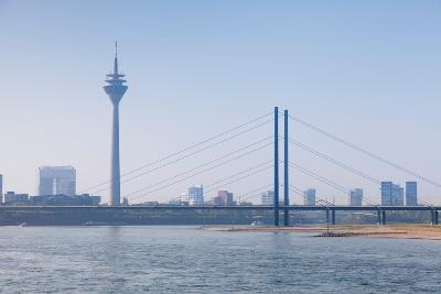 Rheinturm Tower and Rheinkniebrucke Bridge, Dusseldorf, North Rhine Westphalia, Germany--Photographic Print