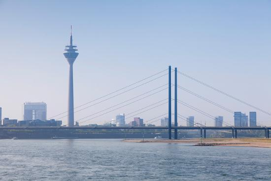 Rheinturm Tower and Rheinkniebrucke Bridge, Dusseldorf, North Rhine Westphalia, Germany--Photographic Print
