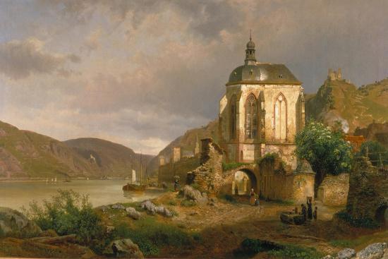 Rhine Landscape with Werner Chapel Near Oberwesel-Johann G Pulian-Giclee Print