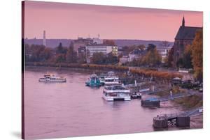 Rhine riverfront at dusk, Bonn, North Rhine-Westphalia, Germany