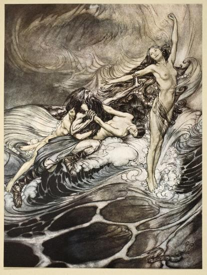 Rhinemaidens obtain possession of ring, illustration from 'Siegfried and the Twilight of Gods'-Arthur Rackham-Giclee Print
