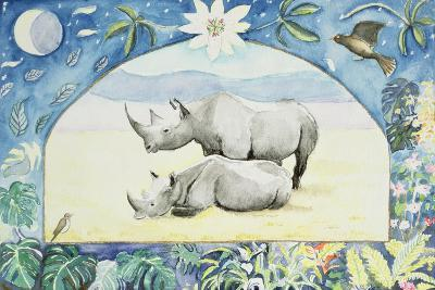 Rhino (Month of February from a Calendar)-Vivika Alexander-Giclee Print