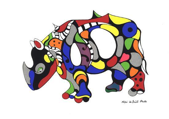 Rhinoceros-Niki de Saint Phalle-Serigraph
