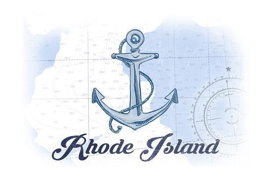 Rhode Island - Anchor - Blue - Coastal Icon-Lantern Press-Art Print