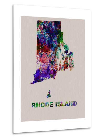 Rhode Island Color Splatter Map-NaxArt-Metal Print