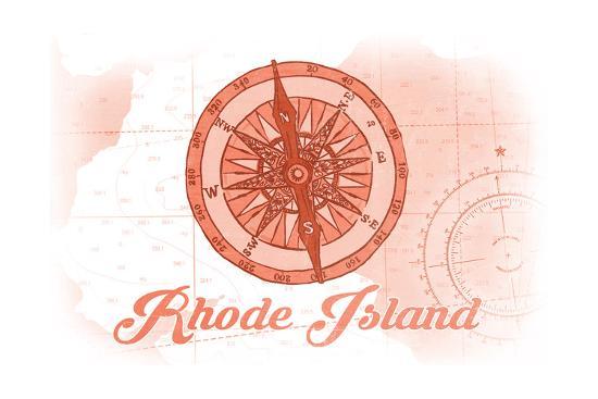 Rhode Island - Compass - Coral - Coastal Icon-Lantern Press-Art Print