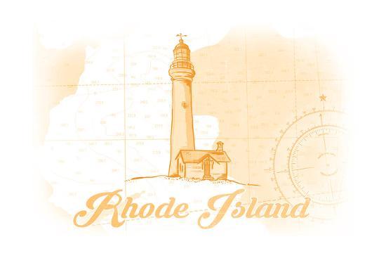 Rhode Island - Lighthouse - Yellow - Coastal Icon-Lantern Press-Art Print