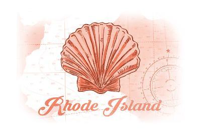 Rhode Island - Scallop Shell - Coral - Coastal Icon-Lantern Press-Art Print