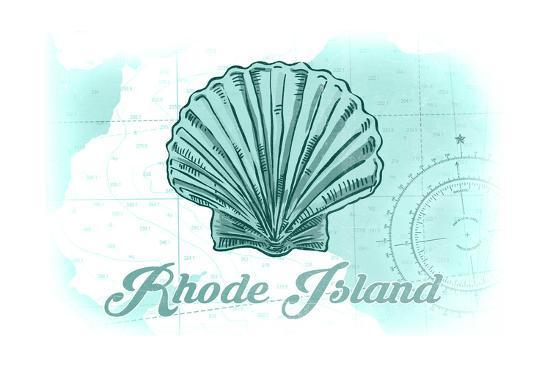 Rhode Island - Scallop Shell - Teal - Coastal Icon-Lantern Press-Art Print