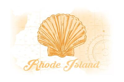 Rhode Island - Scallop Shell - Yellow - Coastal Icon-Lantern Press-Art Print