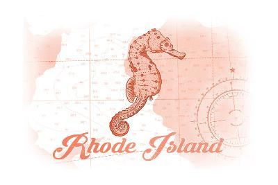 Rhode Island - Seahorse - Coral - Coastal Icon-Lantern Press-Art Print