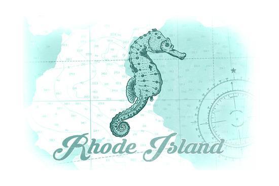 Rhode Island - Seahorse - Teal - Coastal Icon-Lantern Press-Art Print