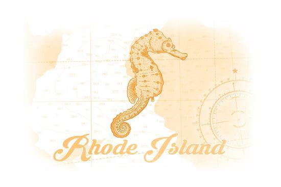 Rhode Island - Seahorse - Yellow - Coastal Icon-Lantern Press-Art Print