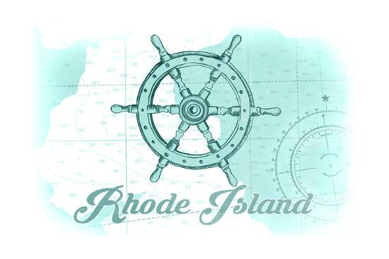 Rhode Island - Ship Wheel - Teal - Coastal Icon-Lantern Press-Art Print