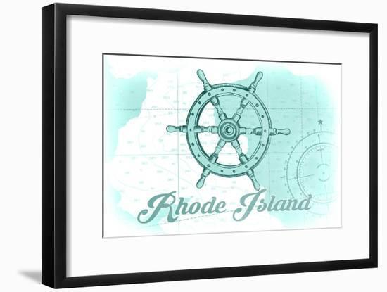 Rhode Island - Ship Wheel - Teal - Coastal Icon-Lantern Press-Framed Art Print