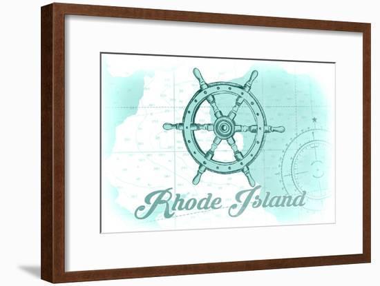 Rhode Island - Ship Wheel - Teal - Coastal Icon-Lantern Press-Framed Art Print
