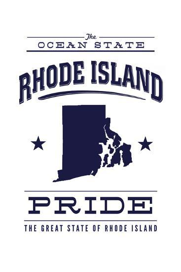 Rhode Island State Pride - Blue on White-Lantern Press-Art Print