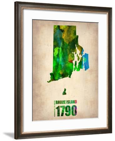 Rhode Island Watercolor Map-NaxArt-Framed Art Print