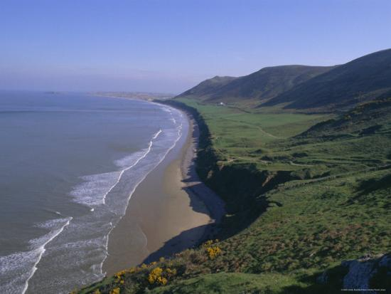 Rhossili Bay, Gower Peninsula, Glamorgan, Wales, UK, Europe-Charles Bowman-Photographic Print