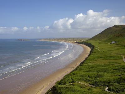 Rhossili Beach in Spring Morning Sunshine, Gower Peninsula, County of Swansea, Wales, Uk-Peter Barritt-Photographic Print