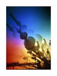 Multuple Exposure Photograph of a Soviet Rocket by Ria Novosti