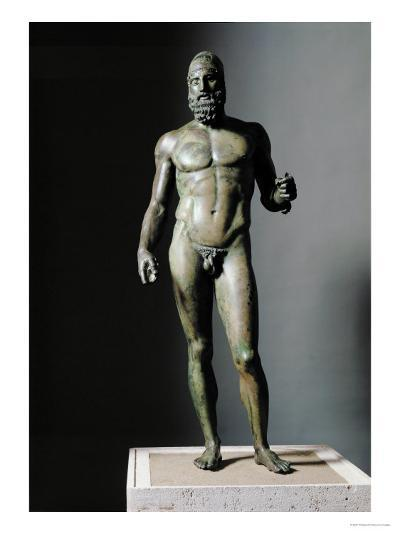 Riace Bronze (B), Bronze Statue of a Young Man with Helmet, More Than Life-Size, Found in 1972- Phidias-Giclee Print