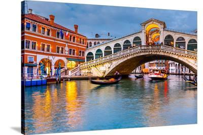 Rialto Bridge at Dusk Venice--Stretched Canvas Print