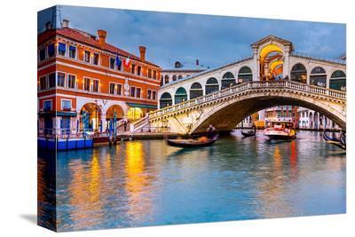 Rialto Bridge at Dusk Venice--Stretched Canvas Print