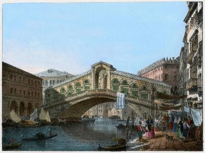 Rialto Bridge, Venice, Italy, 19th Century- Kirchmayn-Giclee Print