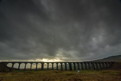 Ribblehead Viaduct, Sunset, Yorkshire Dales National Park, Yorkshire, England, United Kingdom-Bill Ward-Photographic Print