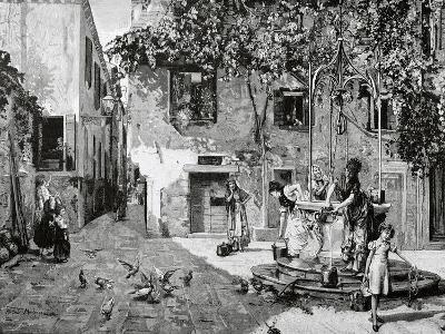 Ricardo De Madrazo Y Garreta (1851-1917). La Ilustracion Artistica, 1884. by the Well., Copy-Adolf Closs-Giclee Print