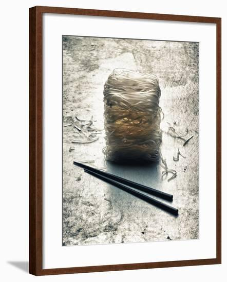 Rice Noodles and Chopsticks (Asia)-Hermann Mock-Framed Photographic Print