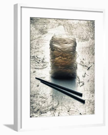 Rice Noodles and Chopsticks (Asia)-Hermann Mock-Framed Photographic Print